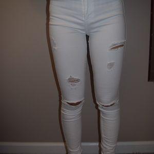 Hollister white denim jeans
